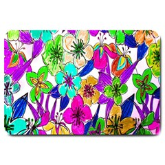 Floral Colorful Background Of Hand Drawn Flowers Large Doormat  by Simbadda
