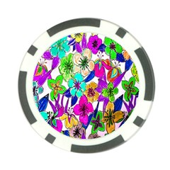 Floral Colorful Background Of Hand Drawn Flowers Poker Chip Card Guard by Simbadda