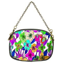 Floral Colorful Background Of Hand Drawn Flowers Chain Purses (two Sides)  by Simbadda