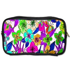 Floral Colorful Background Of Hand Drawn Flowers Toiletries Bags by Simbadda