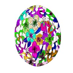 Floral Colorful Background Of Hand Drawn Flowers Oval Filigree Ornament (two Sides) by Simbadda
