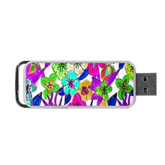 Floral Colorful Background Of Hand Drawn Flowers Portable Usb Flash (two Sides) by Simbadda