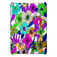 Floral Colorful Background Of Hand Drawn Flowers Apple Ipad Mini Hardshell Case by Simbadda