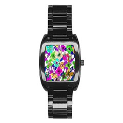 Floral Colorful Background Of Hand Drawn Flowers Stainless Steel Barrel Watch by Simbadda