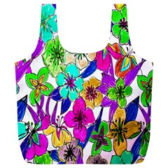 Floral Colorful Background Of Hand Drawn Flowers Full Print Recycle Bags (l)  by Simbadda