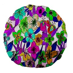 Floral Colorful Background Of Hand Drawn Flowers Large 18  Premium Flano Round Cushions by Simbadda