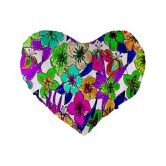 Floral Colorful Background Of Hand Drawn Flowers Standard 16  Premium Flano Heart Shape Cushions by Simbadda
