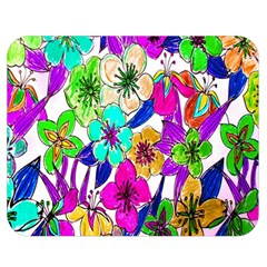 Floral Colorful Background Of Hand Drawn Flowers Double Sided Flano Blanket (medium)  by Simbadda