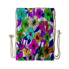 Floral Colorful Background Of Hand Drawn Flowers Drawstring Bag (small) by Simbadda