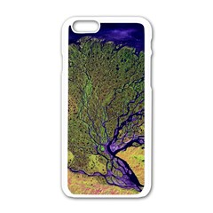 Lena River Delta A Photo Of A Colorful River Delta Taken From A Satellite Apple Iphone 6/6s White Enamel Case by Simbadda