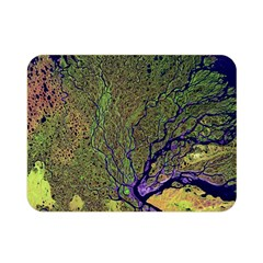 Lena River Delta A Photo Of A Colorful River Delta Taken From A Satellite Double Sided Flano Blanket (mini)  by Simbadda