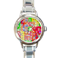 Abstract Polka Dot Pattern Digitally Created Abstract Background Pattern With An Urban Feel Round Italian Charm Watch by Simbadda
