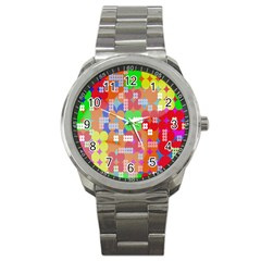 Abstract Polka Dot Pattern Digitally Created Abstract Background Pattern With An Urban Feel Sport Metal Watch by Simbadda