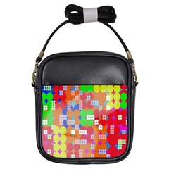Abstract Polka Dot Pattern Digitally Created Abstract Background Pattern With An Urban Feel Girls Sling Bags by Simbadda
