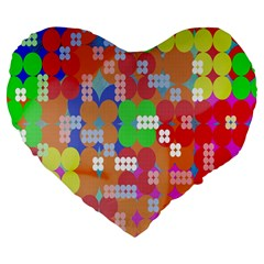 Abstract Polka Dot Pattern Digitally Created Abstract Background Pattern With An Urban Feel Large 19  Premium Flano Heart Shape Cushions by Simbadda