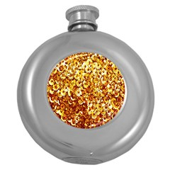 Yellow Abstract Background Round Hip Flask (5 Oz) by Simbadda