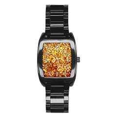 Yellow Abstract Background Stainless Steel Barrel Watch by Simbadda