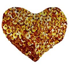 Yellow Abstract Background Large 19  Premium Flano Heart Shape Cushions by Simbadda