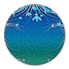 Floral 2d Illustration Background Round Mousepads by Simbadda
