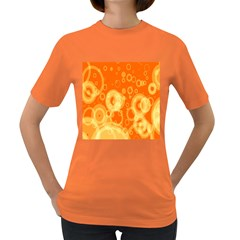 Retro Orange Circle Background Abstract Women s Dark T Shirt