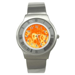 Retro Orange Circle Background Abstract Stainless Steel Watch by Nexatart