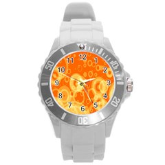Retro Orange Circle Background Abstract Round Plastic Sport Watch (l) by Nexatart