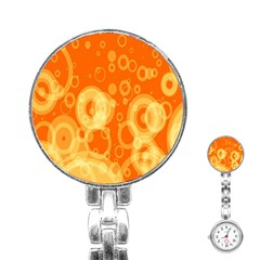 Retro Orange Circle Background Abstract Stainless Steel Nurses Watch by Nexatart