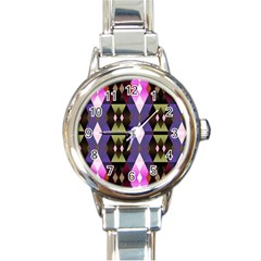 Geometric Abstract Background Art Round Italian Charm Watch by Nexatart