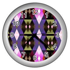 Geometric Abstract Background Art Wall Clocks (silver)  by Nexatart