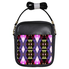 Geometric Abstract Background Art Girls Sling Bags by Nexatart