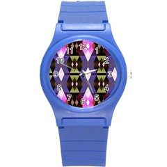 Geometric Abstract Background Art Round Plastic Sport Watch (s) by Nexatart