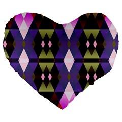 Geometric Abstract Background Art Large 19  Premium Heart Shape Cushions