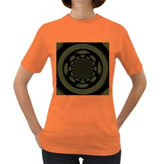 Dark Portal Fractal Esque Background Women s Dark T Shirt