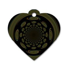 Dark Portal Fractal Esque Background Dog Tag Heart (one Side) by Nexatart