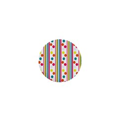 Stripes And Polka Dots Colorful Pattern Wallpaper Background 1  Mini Magnets by Nexatart
