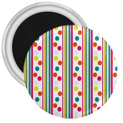 Stripes And Polka Dots Colorful Pattern Wallpaper Background 3  Magnets by Nexatart