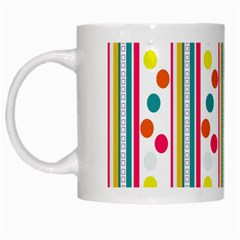 Stripes And Polka Dots Colorful Pattern Wallpaper Background White Mugs