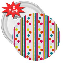 Stripes And Polka Dots Colorful Pattern Wallpaper Background 3  Buttons (10 Pack)  by Nexatart