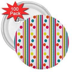 Stripes And Polka Dots Colorful Pattern Wallpaper Background 3  Buttons (100 Pack)