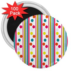 Stripes And Polka Dots Colorful Pattern Wallpaper Background 3  Magnets (100 Pack) by Nexatart