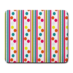 Stripes And Polka Dots Colorful Pattern Wallpaper Background Large Mousepads by Nexatart