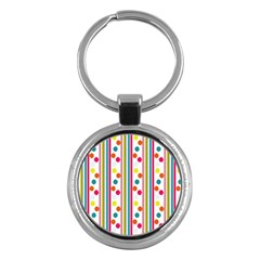 Stripes And Polka Dots Colorful Pattern Wallpaper Background Key Chains (round)  by Nexatart