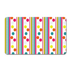 Stripes And Polka Dots Colorful Pattern Wallpaper Background Magnet (rectangular) by Nexatart