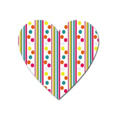 Stripes And Polka Dots Colorful Pattern Wallpaper Background Heart Magnet by Nexatart