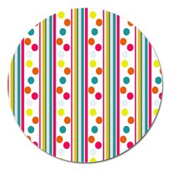 Stripes And Polka Dots Colorful Pattern Wallpaper Background Magnet 5  (round)