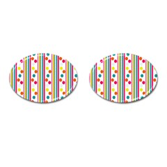 Stripes And Polka Dots Colorful Pattern Wallpaper Background Cufflinks (oval) by Nexatart