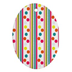 Stripes And Polka Dots Colorful Pattern Wallpaper Background Oval Ornament (two Sides)
