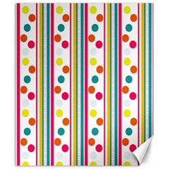 Stripes And Polka Dots Colorful Pattern Wallpaper Background Canvas 20  X 24   by Nexatart
