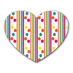 Stripes And Polka Dots Colorful Pattern Wallpaper Background Heart Mousepads by Nexatart