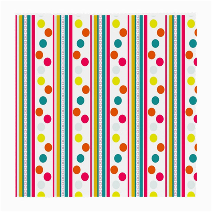Stripes And Polka Dots Colorful Pattern Wallpaper Background Medium Glasses Cloth (2-Side)